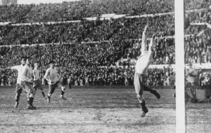 World cup Final, 1930. Montevideo, Uruguay. Uruguay (4) v Argentina (2). Uruguayan striker Hector Castro scores his sides fourth goal past Argentine keeper Juan Botasso.